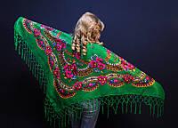 Українська зелена хустина з люрексом Лідія ( Украинский  платок с люрексом  Лидия)