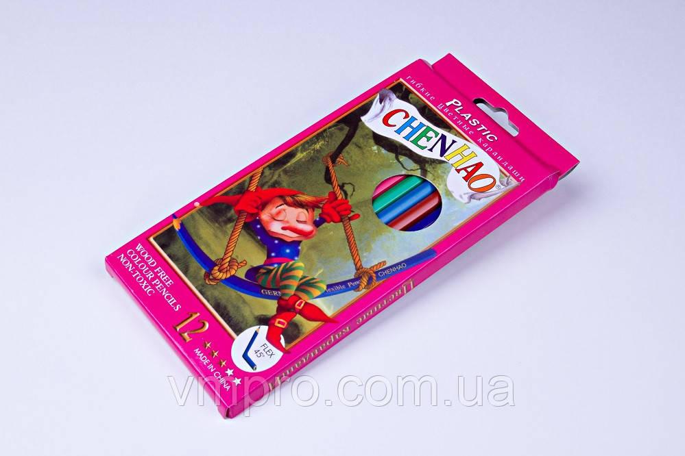 """Карандаши цветные пластиковые """"Leonardo"""" гибкие (12 шт)"""