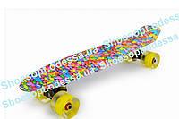 Пенни борд скейтборд (Penny Board) Морские камешки со светящимися колесами