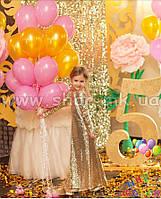 Розово-золотой фонтан из воздушных шаров