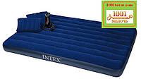 Двухместный надувной матрац с насосом и подушками Intex 68765, размер  203х152х22 см.