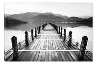 Светящиеся картина Startonight Причал Черно Белые Пейзаж Озеро Печать Холст Декор стен Дизайн дома Интерьер