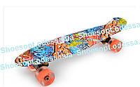 Пенни борд скейтборд (Penny Board) New Граффити со светящимися колесами
