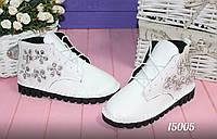 Стильные женские ботинки с камнями и на шнуровке,цвет белый,черный,металик