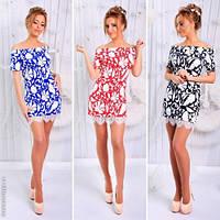 Модное женское платье мини с гипюром / Украина / трикотаж