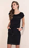 Летнее платье черного цвета с коротким рукавом. Модель Naos Zaps. Размеры 44,46