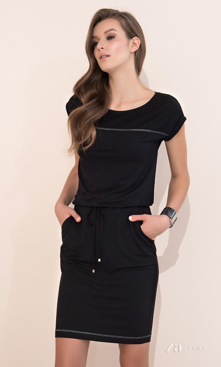 ccc6b26926b94a2 Летнее платье черного цвета с коротким рукавом. Модель Naos Zaps. Размеры  44,46, цена 904 грн., купить в Одессе — Prom.ua (ID#505555616)