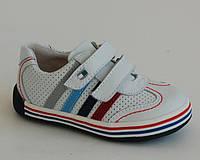 Кроссовки кожаные для мальчика р.21-23 ТМ B&G арт. LD13A3-391 белый