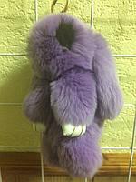 Кролик-брелок из меха С Ресничками Сиреневый в стиле Рекс Фенди Большой , фото 1