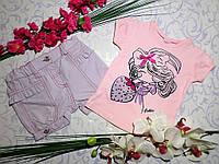 Летний костюмчик футболка и шортики для девочки 2 года