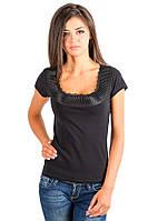 Черная футболка женская летняя с коротким рукавом без рисунка нарядная хб стрейчевая трикотажная (Украина)