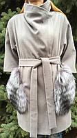 Женское с кашемировое пальто с меховыми карманами-чернобурка, фото 1