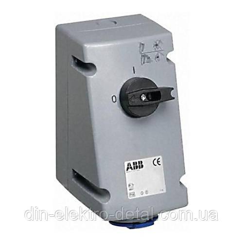 Розетка для тяжелых усилителей с выключателем и блокировкой Cewe, 63А, 2P+E, IP44 ABB (АББ)