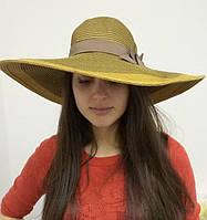 Коричневая шляпа с широкими полями летняя, пляжная d-45 см