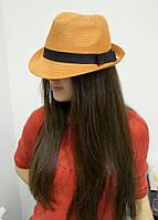 """Молодёжная стильная яркая шляпа """"Трилби"""" с лентой"""