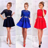 Модное женское платье мини с гипюром / Украина / неопрен