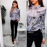 Костюм женский рубашка в модный принт хлопок и брюки коттон Мемори Ds350