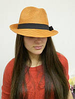 """Шляпа """"Трилби"""" летняя терракотового цвета с оранжевым оттенком"""