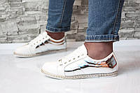 Туфли спортивные белые с серебром Vices