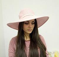 Пляжная летняя шляпа с широкими полями нежно-розовая