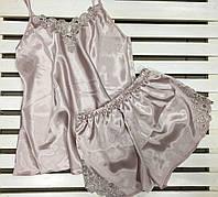 Красивая атласная женская пижама Jasmin цвет пудра размер S,M,L