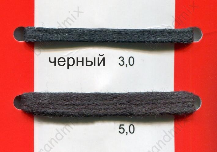 Вощеный шнур плоский, черный