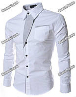 Белая рубашка с отделкой в полосочку. Размер М.
