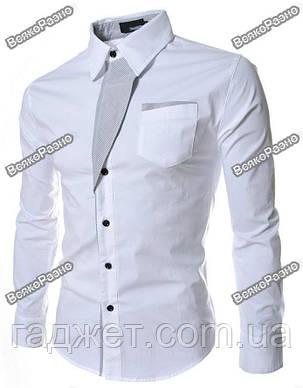 Белая рубашка с отделкой в полосочку. Размер М., фото 2