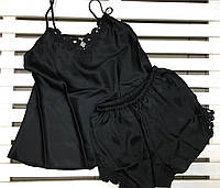 Красивая атласная женская пижама Jasmin черная размер S,M,L