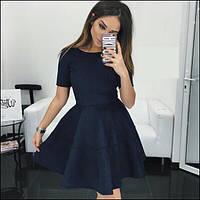 Стильное замшевое короткое платье приталенное с пышной юбкой