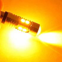 Мощная светодиодная  лампа  SLP LED с цоколем BAY9S (H21W) 10-2835 led 9-30V Желтый, фото 3