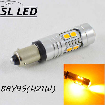 Мощная светодиодная  лампа  SLP LED с цоколем BAY9S (H21W) 10-2835 led 9-30V Желтый, фото 2