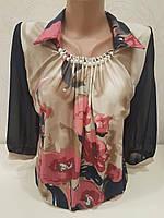 Женская блуза со складочками на горловине