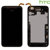 Дисплейный модуль (дисплей + сенсор) для HTC Desire 210 Dual Sim, с рамкой, черный, оригинал
