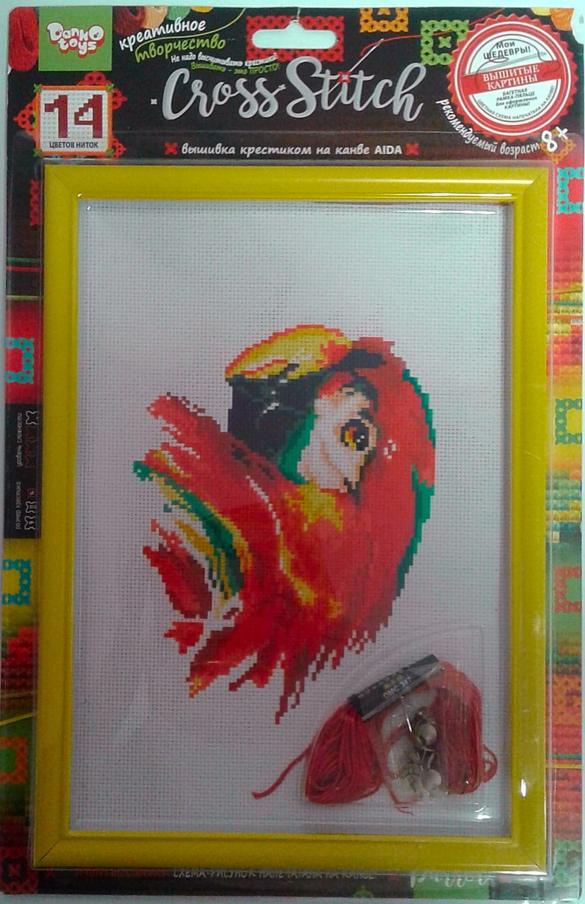 Вышивка крестиком Cross Stitch: Попугай VKB-01-14 Danko-Toys Украина