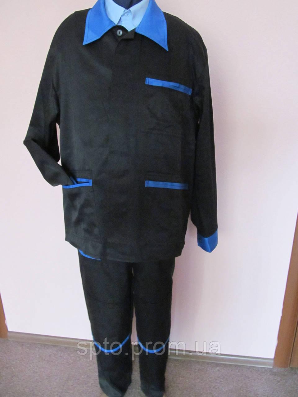 Костюм рабочий черный с синими вставками. Размер 54