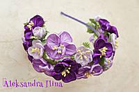 """Ободок с фиолетовыми цветами """"Виолетта"""" №43"""