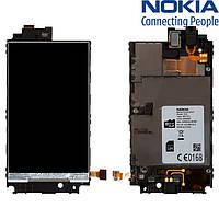 Дисплей (экран) для Nokia Lumia 520, с средней частью корпуса, оригинал