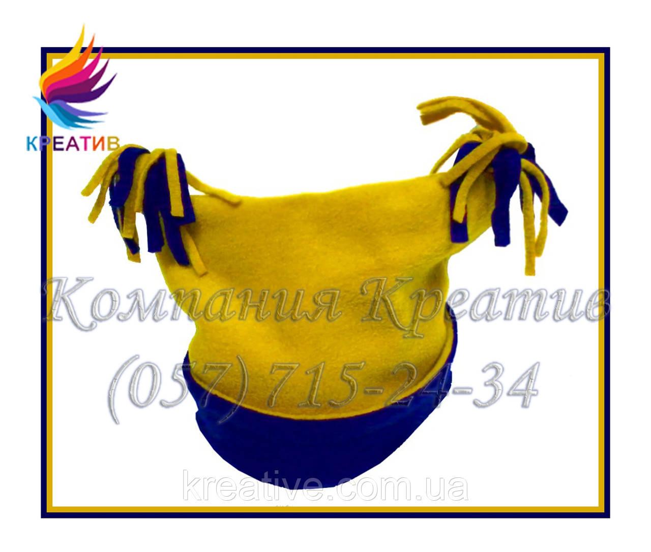 Жёлто-синие флисовые шапочки с Вашим логотипом (от 50 шт.)