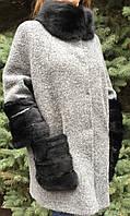 Женское шерстяное пальто с мехом норки , фото 1