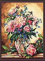 """Акриловий живопис за номерами """"Розкішні півонії"""" полотно 40*50 см без коробки ТМ Ідейка"""