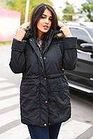 Женская куртка с искусственным мехом енота