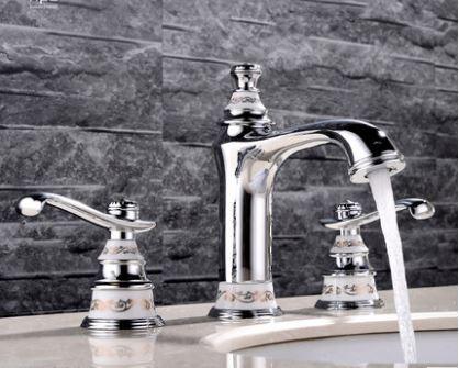 Смеситель кран двухвунтильный для ванной комнаты