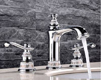 Смеситель кран двухвунтильный для ванной комнаты, фото 1