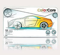 Цветные карандаши marco ColorCore в мет. коробке 12 цветов+1 графитный 3100-12TN, фото 1