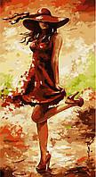 """Акриловий живопис за номерами """"Дама в червоному"""" полотно 27*50 см без коробки ТМ Ідейка"""