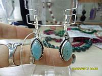 Серьги с натуральным камнем ларимар (Доминикана) в серебре