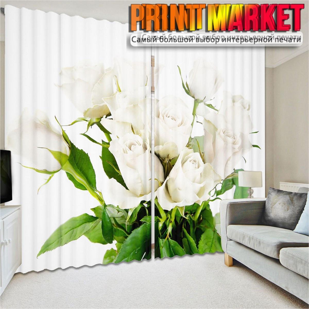 Фотошторы 3д букет белых роз
