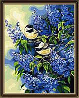 """Акриловий живопис за номерами """"Пташки на гілках бузку"""" полотно 40*50 см без коробки ТМ Ідейка"""