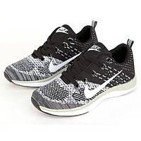 Кроссовки Nike Flyknit Lunar Black Gray Серые мужские реплика